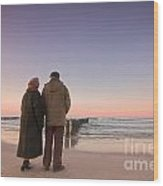 Seniors' Love And Ocean Wood Print