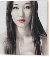 Sensual Artistic Beauty Portrait Of Young Asian Woman Face Wood Print