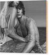 Sensual Portrait Of A Young Couple On The Beach Black And White Wood Print