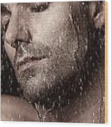 Sensual Portrait Of Man Face Under Pouring Water Wood Print