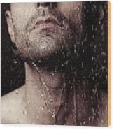 Sensual Portrait Of Man Face Under Shower Wood Print