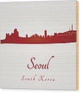 Seoul Skyline In Red Wood Print