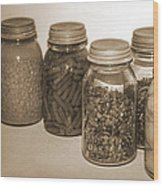 Sephia Vintage Kitchen Glass Jar Canning Wood Print