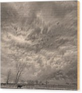 Sepia Angry Skies Wood Print