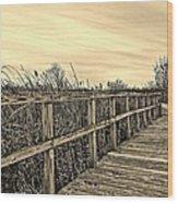 Sepia Boardwalk Wood Print