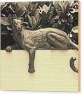 Sepia Cat Wood Print