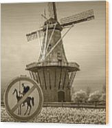Sepia Colored No Tilting At Windmills Wood Print