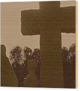 Sepia Cross Wood Print