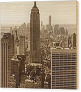 Sepia Empire State Building New York City Wood Print