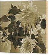 Sepia Garden Sunflower Bouquet Wood Print