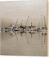Sepia Harbor Wood Print
