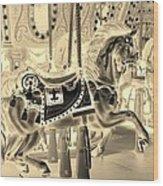 Sepia Horse Wood Print