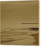 Sepia Lighthouse Wood Print