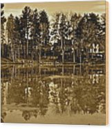 Sepia Reflection Wood Print