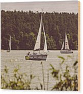 Sepia Sailing Wood Print
