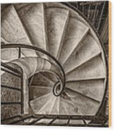 Sepia Spiral Staircase Wood Print