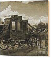 Sepia Stagecoach Wood Print