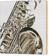 Sepia Tone Photograph Of A Tenor Saxophone 3356.01 Wood Print