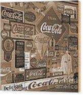 Sepia Toned Signs Of Coca Cola Wood Print