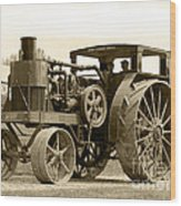 Sepia Tractor Wood Print
