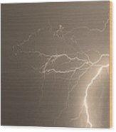 Sepia Tropical Thunderstorm Night  Wood Print