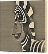 Sepia Zebra Wood Print