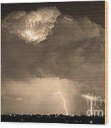 Sepiathunderstorm Boulder County Colorado   Wood Print