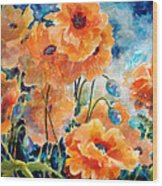 September Orange Poppies            Wood Print