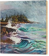 September Storm Lake Superior Wood Print