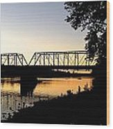 September Sunset On The River Wood Print
