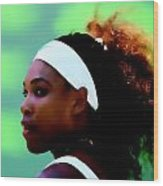 Serena Williams Match Point Wood Print
