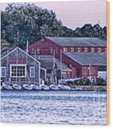 Serene Seaport Wood Print
