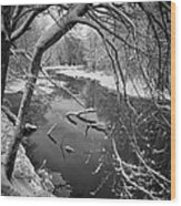 Serene Winter Stream Wood Print