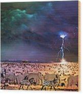 Serengeti Storm Wood Print