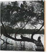 Serenity On The River Wood Print