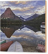 Serenity On Two Medicine Lake Wood Print