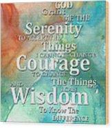 Serenity Prayer 1 - By Sharon Cummings Wood Print
