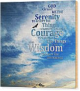 Serenity Prayer 3 - By Sharon Cummings Wood Print