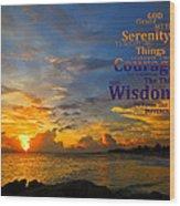 Serenity Prayer Sunset By Sharon Cummings Wood Print