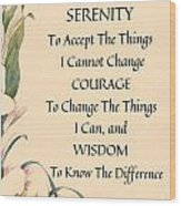 Serenity Prayer Typography On Calla Lilly Watercolor Wood Print