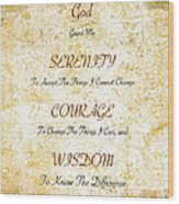 Serenity Prayer With Flowers And Butterflies Wood Print