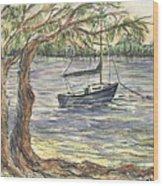 Serenity Sailboat Wood Print