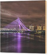 Seri Wawasan Bridge At Night Wood Print