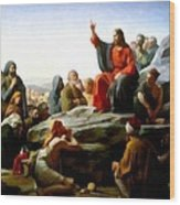 Sermon On The Mount Watercolor Wood Print by Carl Bloch