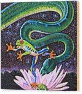 Serpent In The Garden Wood Print