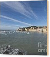 Sestri Levante With Blue Sky And Clouds Wood Print