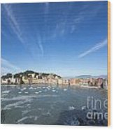Sestri Levante With Clouds Wood Print
