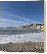 Sestri Levante With Waves Wood Print