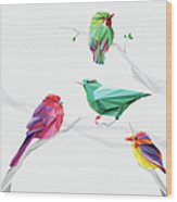 Set Of Abstract Geometric Colorful Birds Wood Print