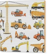 Set Of Detailed Heavy Construction And Wood Print